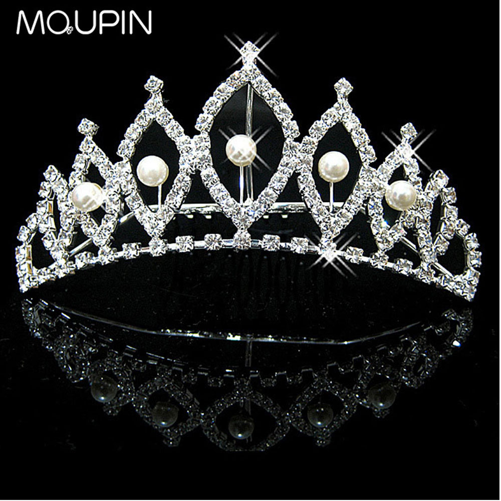 MQUPIN Imitation Pearl Clear Crystal Princess Queen hair accessories Diadem Rhinestone Bridesmaid Bride party decoration