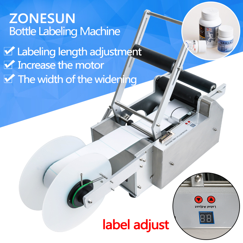 ZONESUN 220V/110V Semi-Automatic Round Bottle Labeling machine Labeler Machine LT-50(Bottle OD:15-120MM) eco mt 50 semi automatic round bottle labeler labeling machine 120w 20 40pcs min