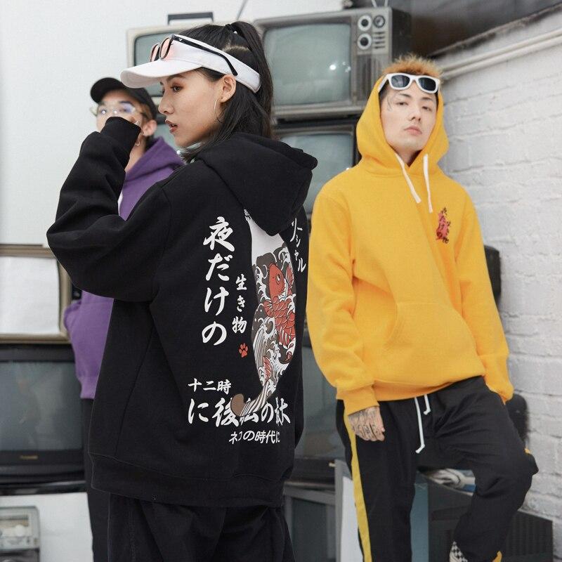 LE Chinisme Japonais Ukiyo Chat Imprimé Polaire Hoodies Mens 2018 Hip Hop Pull Sweats À Capuche Streetwear Homme De Mode À capuche