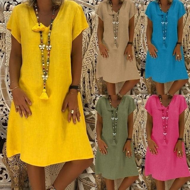 6fc759bf61 Nueva primavera Casual con cuello en V de algodón y lino Vestido de verano  de mujer