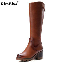 RizaBina Women Toe Platform Knee Boots Woman Round Toe Square Low Heel Shoes Ladies Brand Vintage Boot Bootines Mujer Size 32-42