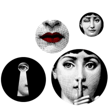 Milan Italy Designer Fornasetti Plates Pattern Wallpaper Separated Wall Stickers for DIY  Classic Bar Home Hotel Wall Decoration