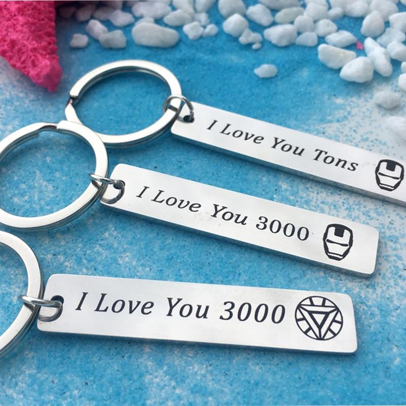 Vengadores te amo 3000 llavero de pareja Iron Man Tony llavero Stark par de joyas regalos para esposa Romántico forma de corazón miniatura de cristal personalizado artesanías de cristal regalos de amor DIY accesorios de decoración del hogar