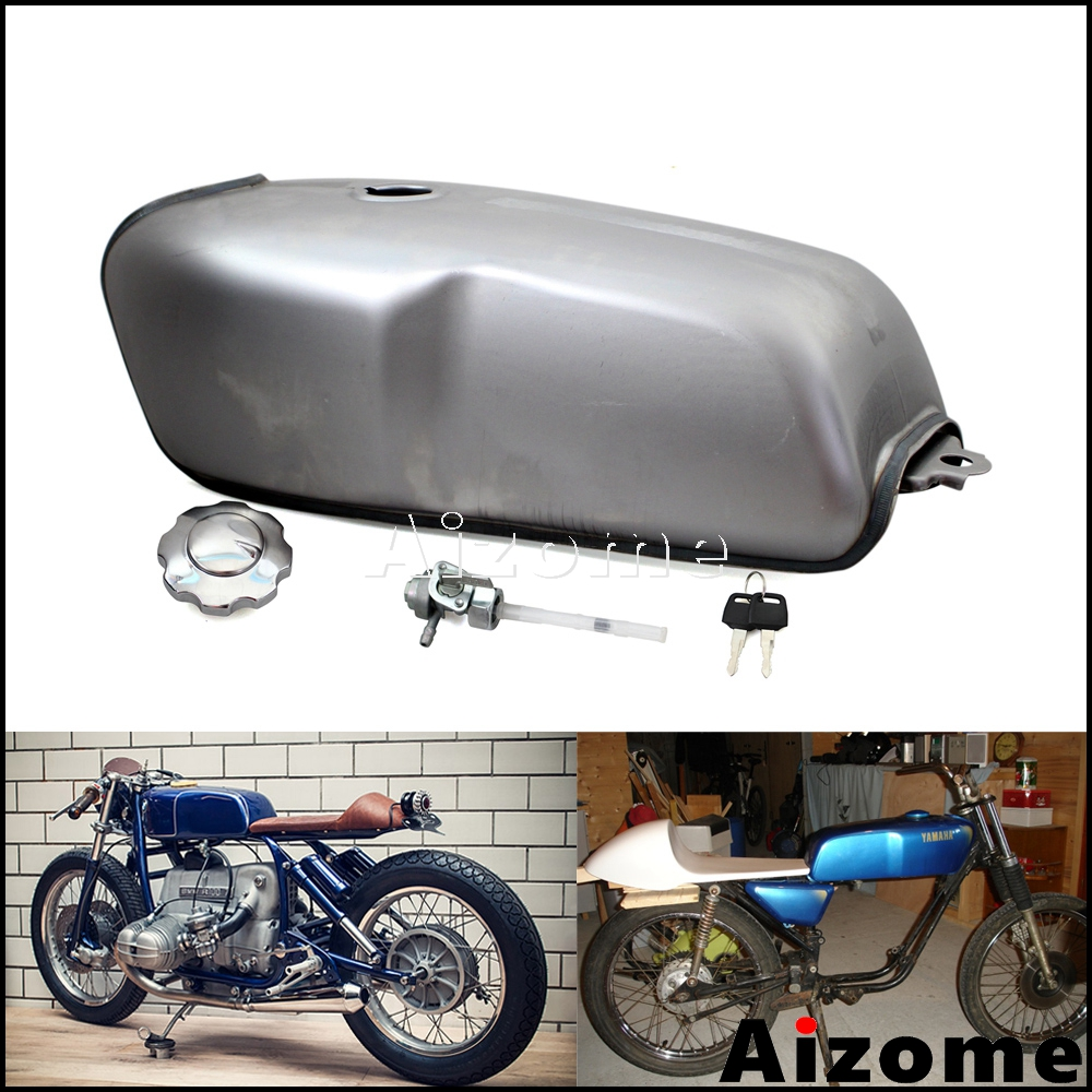 Black Motorcycle 10L 2.6 Gallon Cafe Racer Vintage Fuel Tank for Suzuki Yamaha Honda 750 CB400 XJR400