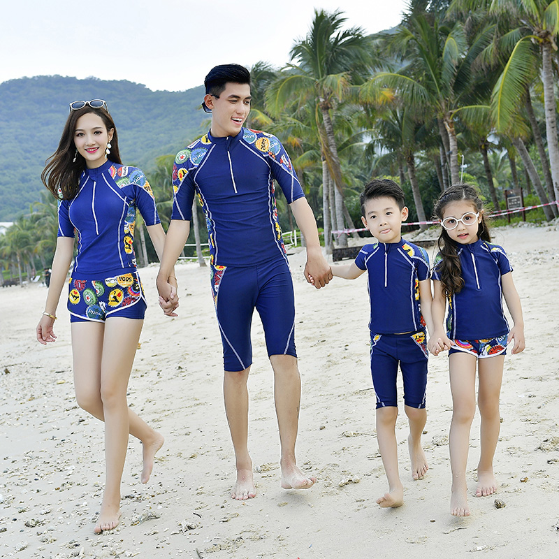 Family Matching Outfits Look Mother Daughter Father Son Bathing Swimsuits Mommy and Me Clothes Quick Dry Swimming Surfing Suit