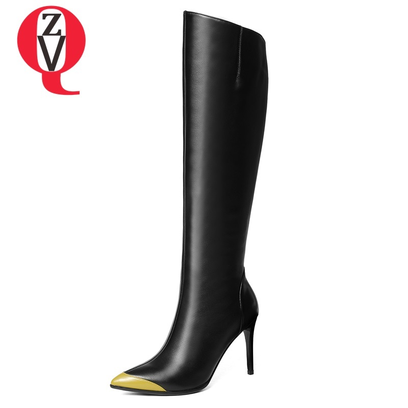 ZVQ 2018 winter new fashion sexy mixed colors genuine leather knee high boots super high thin heels ponited toe zip women shoes allbitefo full genuine leather mixed colors chains design fashion brand women knee high boots winter snow zip women boots