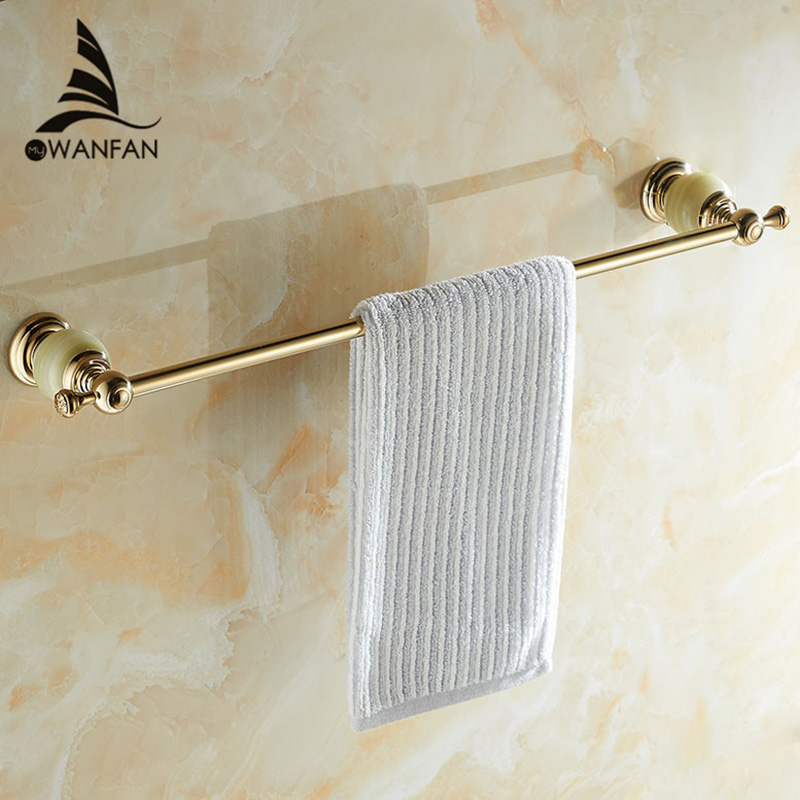 Towel Bars Wall Mounted Golden Jade Bathroom Single Towel Hanger Solid Brass Accessories Home Decorative HY-21 different colors wall mounted clothes hook bathroom towel hanger crystal