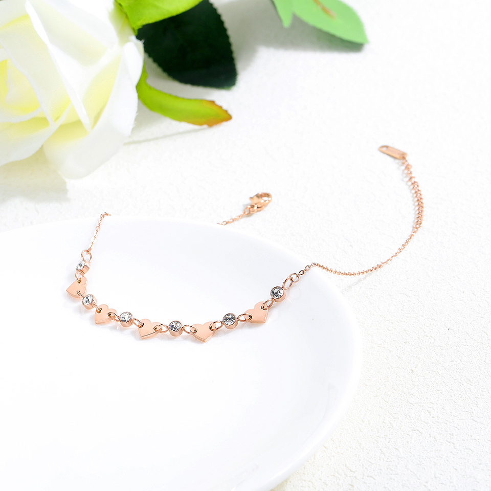 Zircon Love Heart Anklet Rose Gold Color Titanium Stainless Steel Material Anklets Fashion Trendy Women Jewelry Gift 4