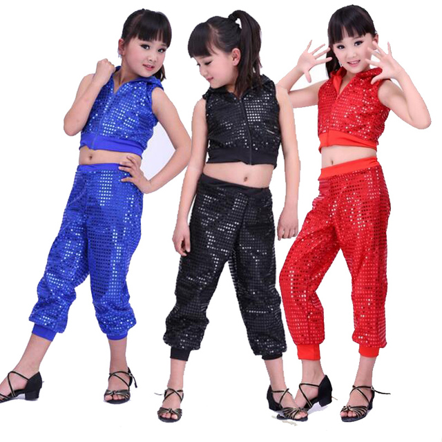 74489dc96 Kids Sequined Hip Hop Stage dancewear costumes Girls Ballroom Party ...