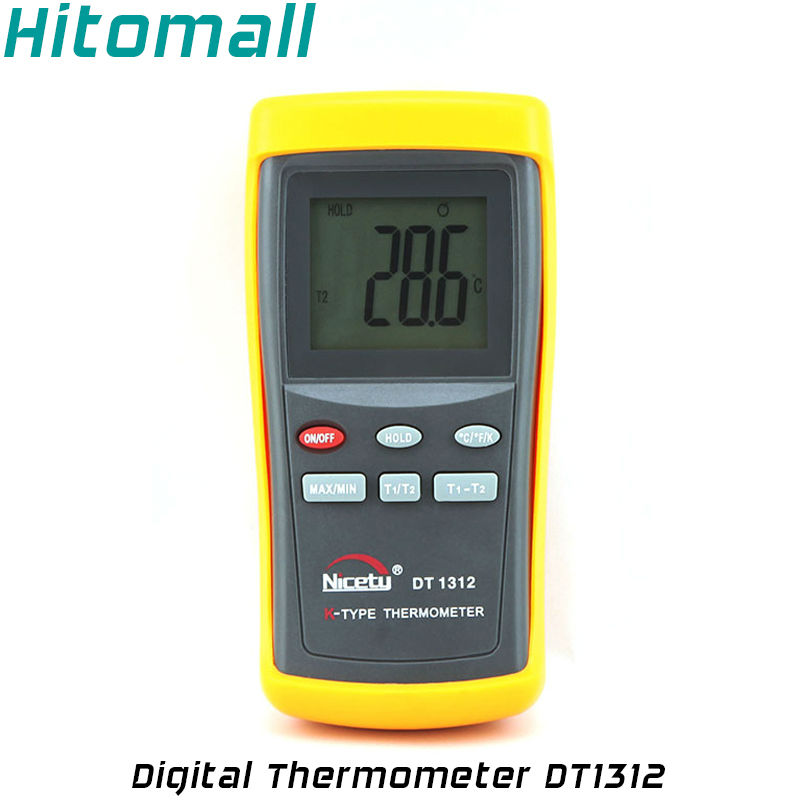 Professional Household Industrial Use Two Channel 1370C 2498F K-Type Digital Thermometer Thermocouple Sensor DT1312 кабели межблочные аудио silent wire digital 5 rca coaxial 2 0m