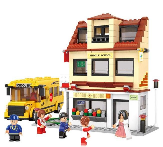 Sim City School Bus 3d Construction Plastic Model Building