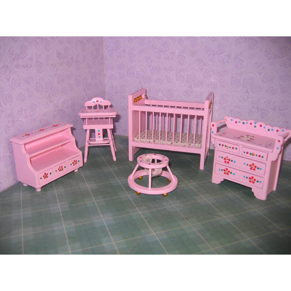 1:12 dollhouse furniture toy for dolls wooden mini baby room miniature Crib chair pretend play kids toys girls children gifts new iron art miniature mini flower stand chair kids toys furniture white 90 74mm for 1 12 dollhouses model accessories wwp5566