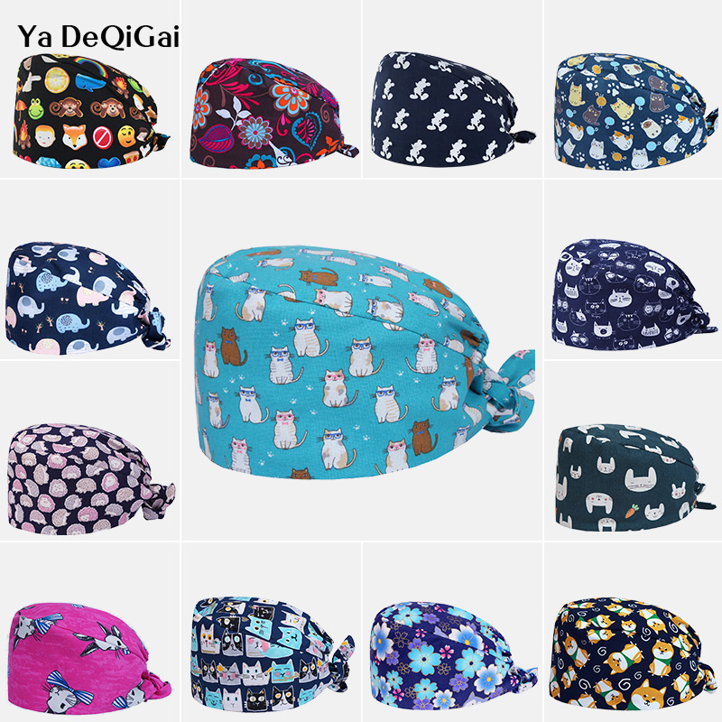Pet Hospital Doctor Nurse Caps High Quality Printed Medical Surgical Cap Operatingunisex Adjustable Dentistry Hats Surgery Cap