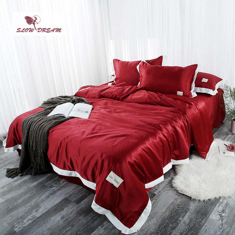 SLOWDREAM Bedding Set Luxury Double Linens Euro Flat Sheets Bedspread Duvet Cover Comforter Adult Queen King Size Bed Linen Set