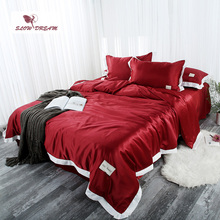 SLOWDREAM Bedding Set Luxury Double Linens Euro Flat Sheets Bedspread Duvet Cover Comforter Adult Queen King Size Bed Linen Set [available with 10 11] linens euro love dream