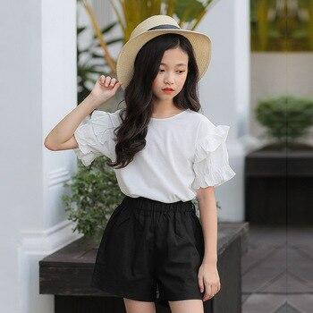 2019 Girls Sumemr Clothes Set Short Sleeve Solid T-shirt + Shorts Pant 2pcs Teenage Fashion Toddler Girl Clothing Set 8 10 12 13 girl
