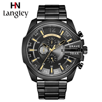Langley Men Watches Gold Self Winding Automatic Mechanical Wristwatch Army Military Male Sport Clock Leather Band