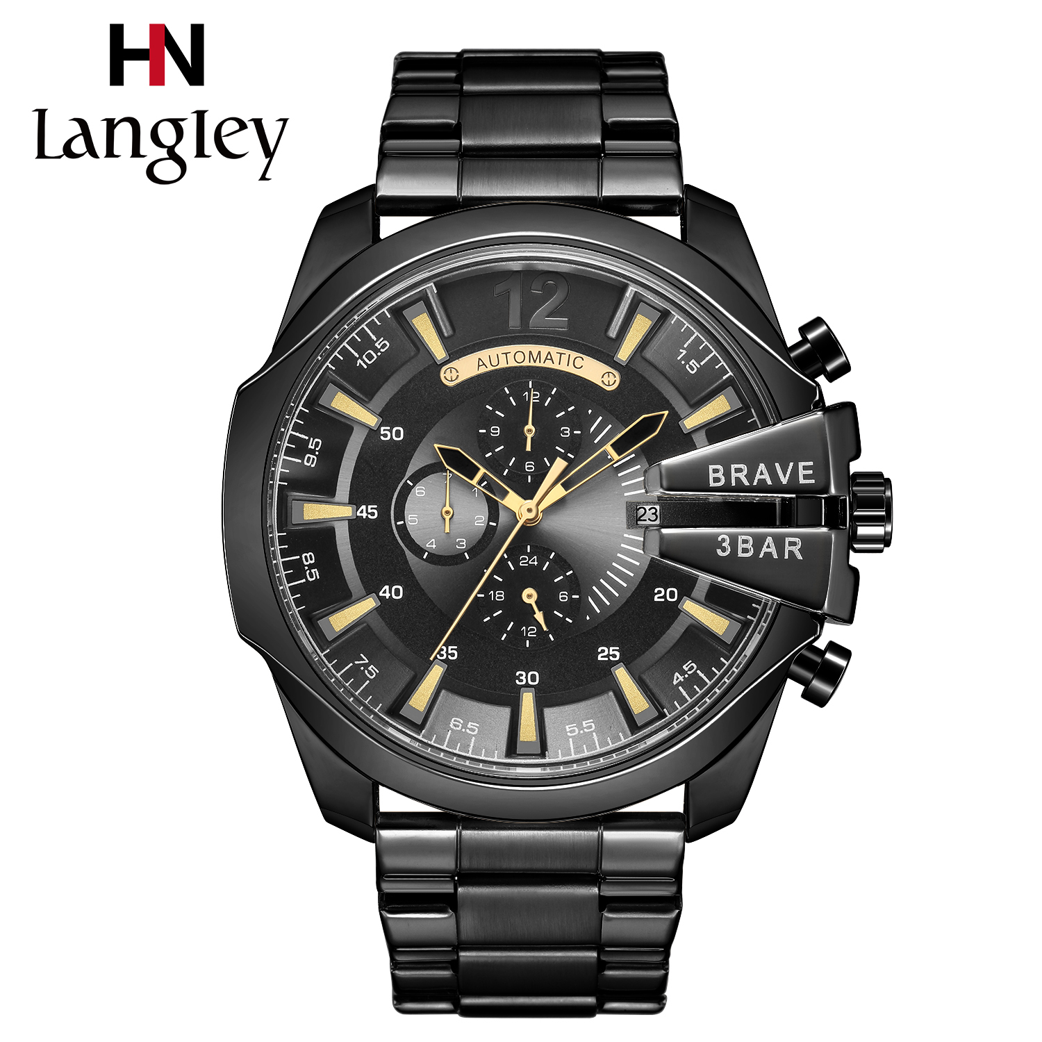 Langley Men Watches Gold Self-winding Automatic Mechanical Wristwatch Army Military Male Sport Clock Leather Band Saat Erkekler