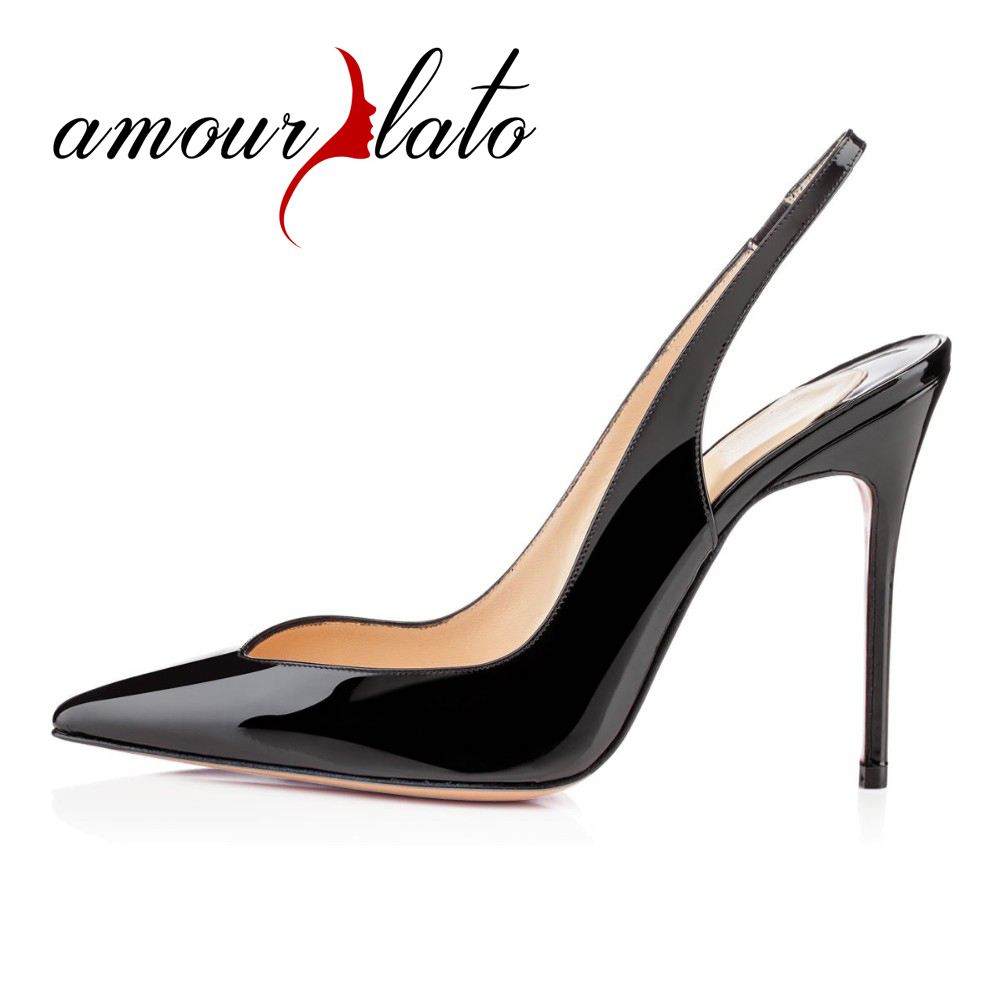 Amourplato Ladies Fashion 10CM Stiletto Slingback High Heel Pumps Handmade Cut Out Pointed Toe Party Dress Shoes Plus Size amourplato women s ladies handmade fashion big large size thick block heel closed toe high heel party office pumps chunky shoes