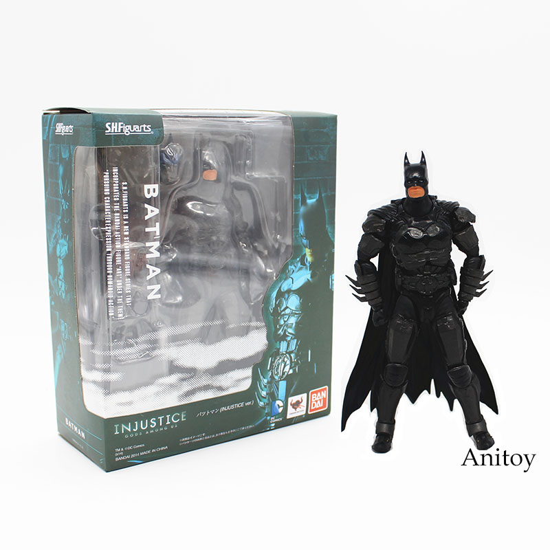 SHFiguarts Batman INJUSTICE ver. PVC Action Figure Collectible Model Toy 16cm KT1840 free shipping 6 comics dc superhero shfiguarts batman injustice ver boxed 16cm pvc action figure collection model doll toy