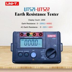 UNI-T UT522 цифровой измеритель сопротивления заземления 0-4000ohm 4000 Граф Омметр переменного тока измеритель заземления хранение данных с ЖК-подсв...