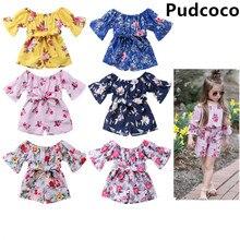 Одежда для маленьких девочек; комбинезон с короткими рукавами и цветочным принтом для новорожденных девочек; комбинезон; одежда из хлопка; 7 цветов