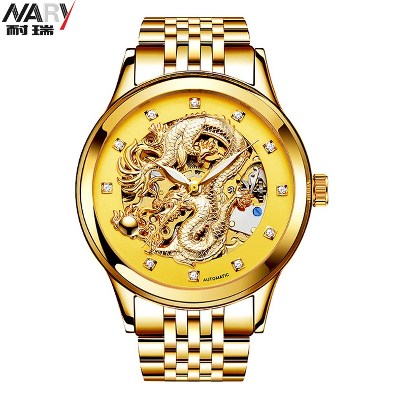 NARY Skeleton Watch Full Stainless Steel Mechanical Watches Men Designer Man Top Brand Luxury Gift Clock Male Relogio Wristwatch mce gold skeleton stainless steel designer mens watches top brand luxury automatic casual mechanical watch clock men wristwatch