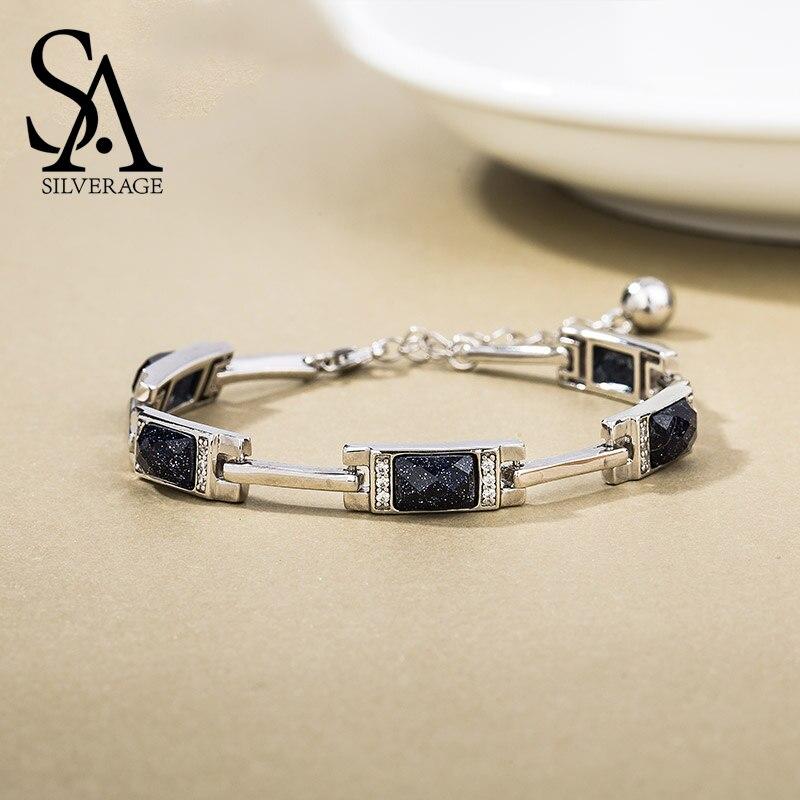SA argent 925 argent Sterling Rectangle pierre chaîne Bracelets Bracelets bijoux fins 925 argent chaîne lien Bracelet