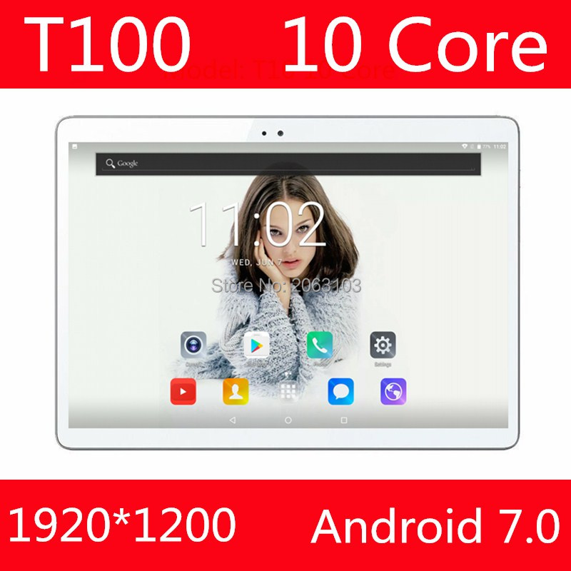 Tablet 10 Inch Deca Core Tablet Android 7.0 4G LTE 4GB RAM 64GB ROM 1920x1200 IPS Dual Sim Cards Cameras Wifi 10 10.1 GPS Tablet