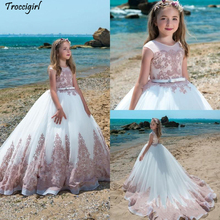 Princess Flower Girl Dresses Pageant Dresses For Girls Jewel Neckline Applique Flower Girl Dress Floor Length Girl Pageant Gowns lovely lace flower girl dresses hi low jewel neck pink long sleeve pageant dresses fluffy tiered satin girls pageant dress