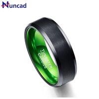 Nuncad anillo de calidad superior T053R 8mm de ancho negro mate superficie verde interior anillo de acero de tungsteno anillo para la Mujer hombre