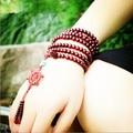 Tibetan Meditation Wooden Rosary Beaded Bracelets 6mm*108 natural red sandalwood bead prayer japa rosary mala bracelet