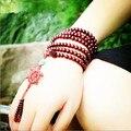 Tibetano Meditação Rosário De Madeira Pulseiras de Contas 6mm * 108 natural red sandalwood talão oração japa mala rosário pulseira