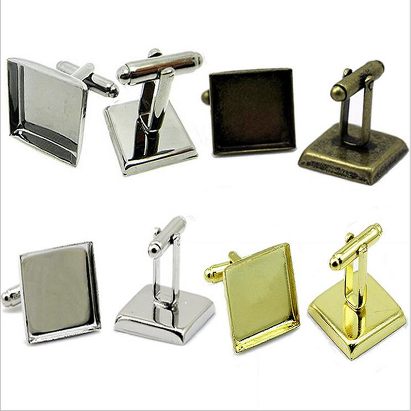 10pcs 16 18 20 25mm Square Cufflinks Blank Base Setting Copper Cufflinks Cabochon Cameo Tray DIY Cufflink Clothes Accessories in Jewelry Findings Components from Jewelry Accessories
