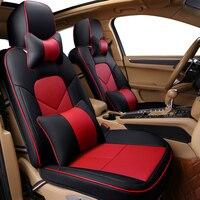 5 מושבי כריות רכב מכונית עור פחם במבוק כיסוי מלא חום אדום שחור מושב מושב מכסה להתאים את המכונית המקורית בז'