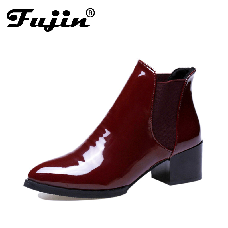 Fujin 2018 Spring Autumn Square High Heels Pointed Toe Sex Ankle Womens Boots Winter  Ladies Boots Patent Leather Boots
