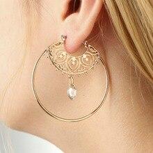 Trendy Round Gold Color Earrings Hollow Circle Shape Crystal Waterdrop Cubic Zirconia Earrings Women Statement Jewelry Brincos pair of gorgeous gemstone embellished waterdrop shape earrings for women