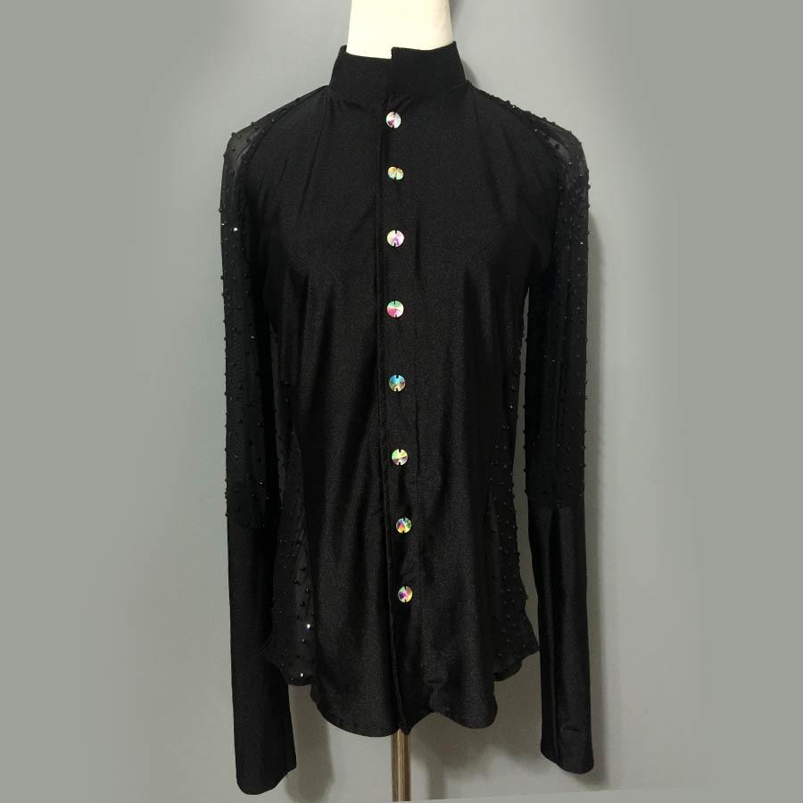 Pánské latinskoamerické taneční kostýmy seior spandex s dlouhým rukávem pánské latinskoamerické taneční košile pro pánské latinské taneční košile A81