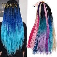 VERVES Ombre Сенегальские вьющиеся волосы 1 упаковка 24 дюйма вязанные крючком косы 30 корней/упаковка синтетические плетеные волосы для наращиван...
