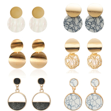 Newest Fashion Geometric Earrings For Women Stone Simple Design Jewelry Wholesale Dropshipping Classical Circle Brincos