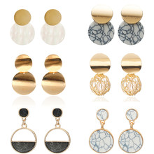 Newest Fashion Geometric Earrings For Women Stone Earrings Simple Design Jewelry Wholesale Dropshipping Classical Circle Brincos(China)
