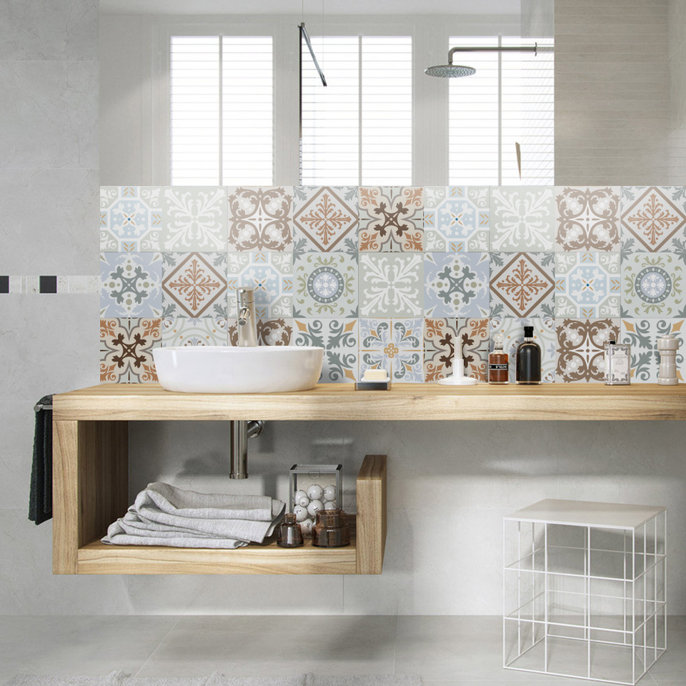 Funlife Self Adhesive Tiles Sticker Waterproof Bathroom Kitchen Backsplash Decor Peel And Stick Vintage Moroccan Tile Wall Decal Wall Stickers Aliexpress