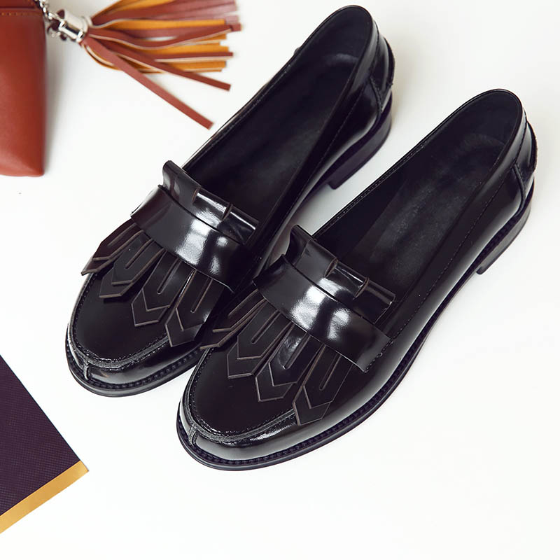 ФОТО Fashion Luxury Brand Fringe Brogue Shoes 2017 Spring Casual Genuine Leather Moccasins Platforms Tassel Women Shoes Big Size 41