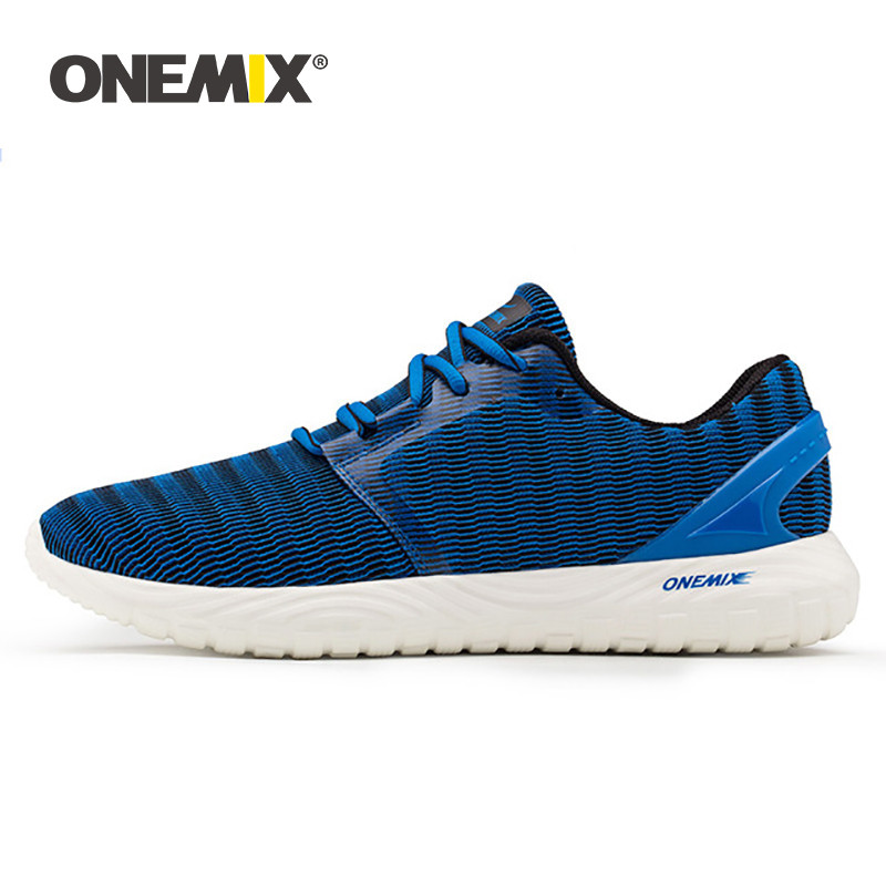 ONEMIX Running Shoes For Men Breathable Mesh Athletic Shoes Super Light Outdoor Black White Sports Shoes Walking Jogging Shoes