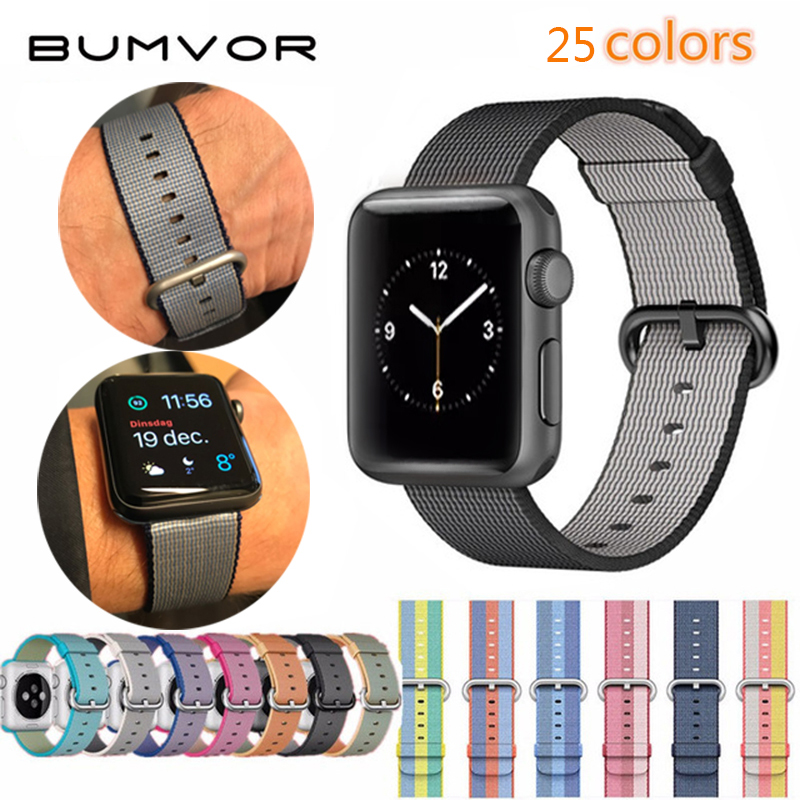 BUMVOR Woven Nylon strap band For Apple Watch band 42 mm 38 mm wrist bracelet watchband for iwatch band 1 2/3 watch Accessories survival nylon bracelet brown