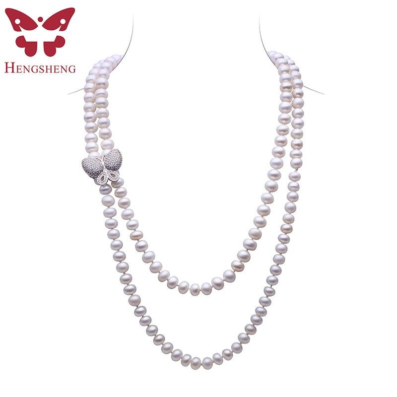 HENGSHENG Blanc D'eau Douce Perle Bijoux Collier Pour Les Femmes, 120 cm Longueur Long Collier, Pain Perle Ronde Avec Papillon boucle