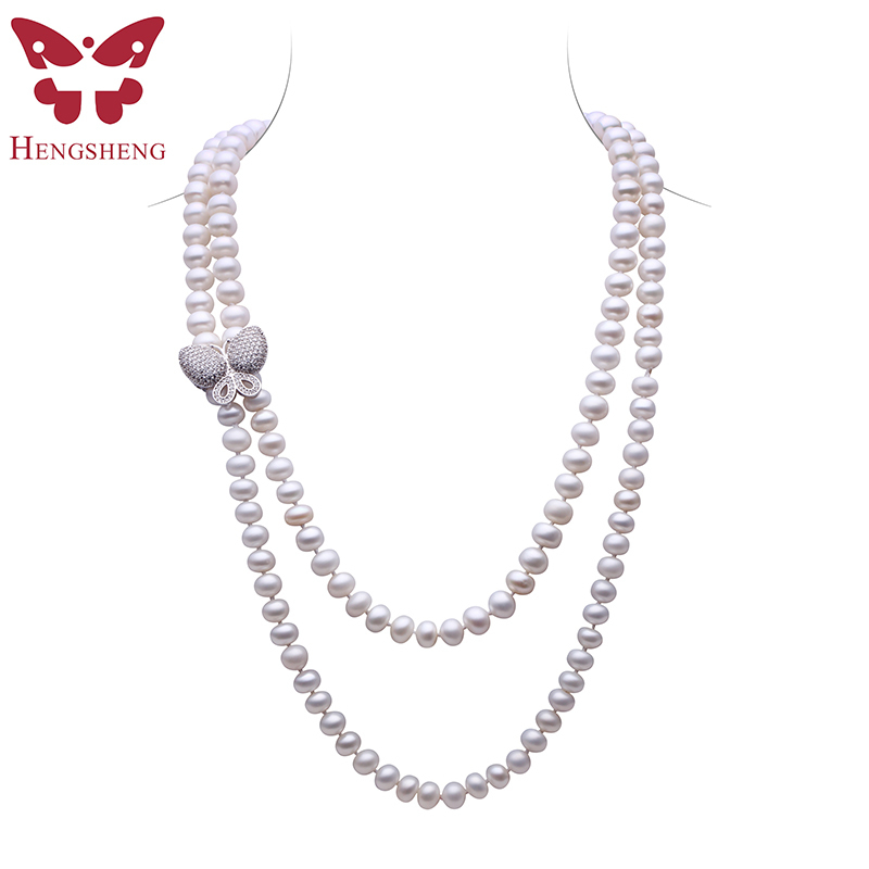 HENGSHENG White Freshwater Pearl Jewelry Necklace For Women,120cm Length Long Necklace,Bread Round Pearl With Butterfly Buckle