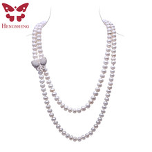 HENGSHENG White Freshwater Pearl Jewelry Necklace For Women,120cm Length Long Necklace,Bread Round Pearl With Butterfly Buckle(China)