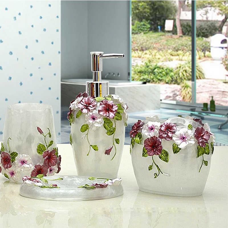 Romantic Flowers 5 Piece set Bathroom Products Resin Bottle Cups Toothbrush Holder Bathroom Accessories Sets Wedding