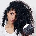 7 PCS/10 PCS 70G-220G Afro Kinky Curly Grampo Em Extensões Do Cabelo Cabeça Cheia Clipe em Extensões Do Cabelo Humano Preto Cabelo Virgem # 1B